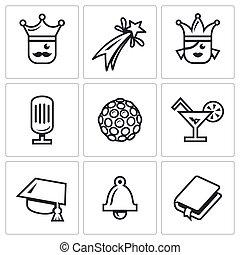 Vector Set of Prom Icons. King, Firework, Queen, Equipment, Disco, Alcohol, Master, Last Call, Scenario.