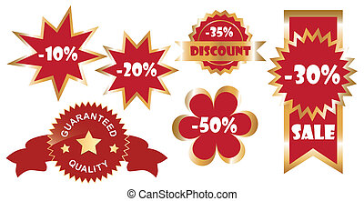 vector set of promo stickers, golden variant