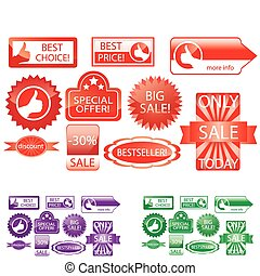 promo stickers - vector set of promo stickers, various color