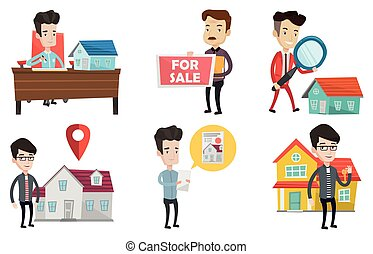 Vector set of real estate agents and house owners. - Happy...