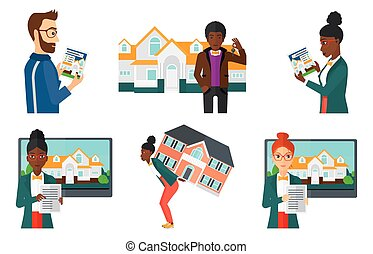 Vector set of real estate agents and house owners.