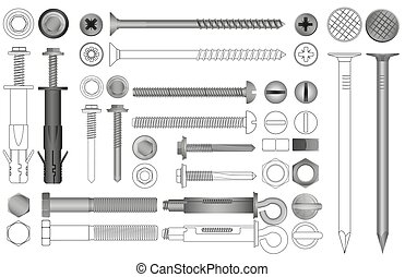 Vector set of realistic and line nuts, bolts, screws and rivets.