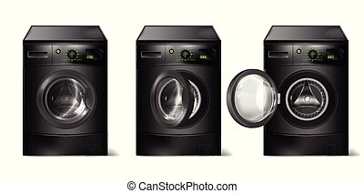 Vector set of realistic black washing machines