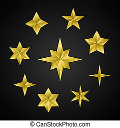 Vector set of realistic golden 3d stars.