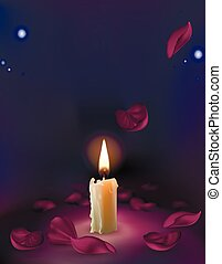 Vector set of realistic white burning candles isolated on a transparent background.