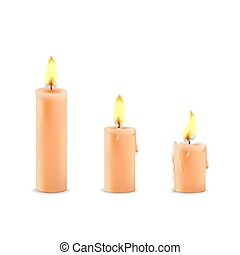 Vector set of realistic white burning candles