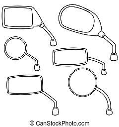 vector set of rear view mirror