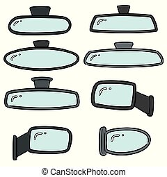 vector set of rear view mirrors