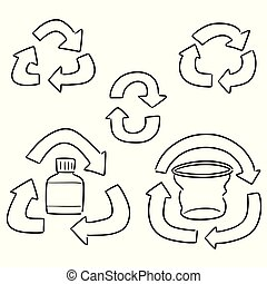 vector set of recycle icon