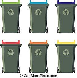 vector set of recycling wheelie bin icons