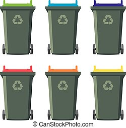 vector set of recycling wheelie bin icons. isolated on white...