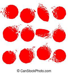 Vector set of red broken shapes