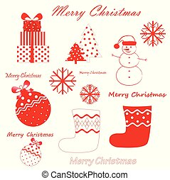 vector set of red christmas and new year simbols isolated on the white background