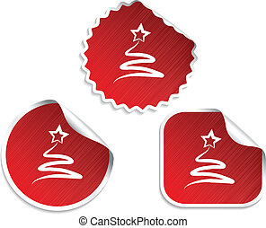 set of red Christmas stickers with tree