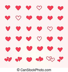 Vector set of red hearts in different shapes and styles