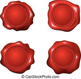 vector set of red wax seals