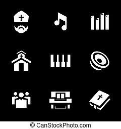 Vector Set of Religion Icons. - Bishop, music, organ, keys,...