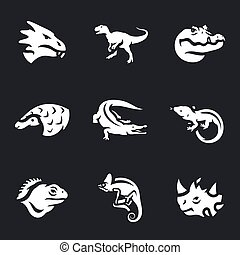 Vector Set of Reptiles Icons.