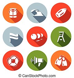 Vector Set of Rescue on Water Icons. Life Jacket, Tsunami, Float, Flag, Buoys, Towers Saver, Lifebuoy, Speaker, Fins.