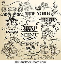 Vector set of retro calligraphic de