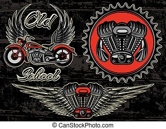 vector set of retro emblems on the