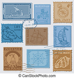 Vector Set of Retro SEA POST Stamps - High Quality - for design and scrapbook
