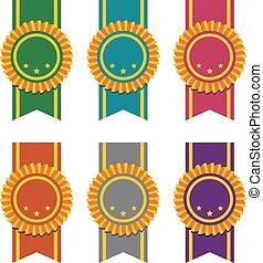 vector set of ribbon badges