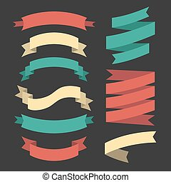 Vector set of ribbons in flat style.