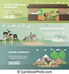 Vector set of riding horizontal banners in flat style
