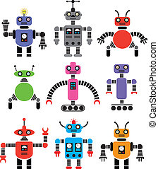 set of robots of various shapes and colors - vector set of...