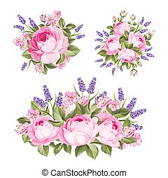 Vector set of rose, lavender bouquets for your design. Spring wedding romantic date marriage symbol. Rose and Lavender garland, bouquet for your template, design of invitation card.