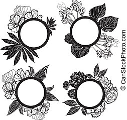 set of round black vintage frames