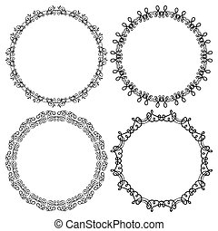 Vector set of round frames on a white background