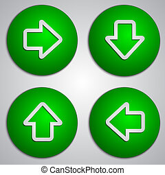 Vector set of round green arrow buttons with paper cut image