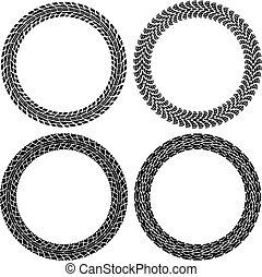vector set of round tire tracks