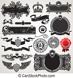 Vector set of royal ornate frames and elements