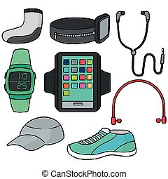 vector set of running accessories