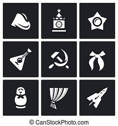 Vector Set of Russia country Icons. Soldier field cap, Kremlin, Moscow, Oktyabrenok, balalaika, hammer and sickle, Pioneer tie, matryoshka, Iron Curtain, Rocket.