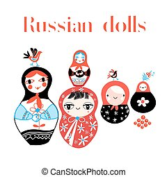 Vector set of Russian dolls
