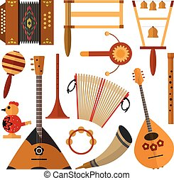 Vector set of Russian folk music instruments in flat style