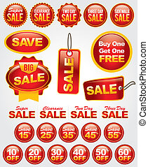 Vector Set of Sale and Promotion Labels and Badges - Bright ...
