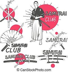 Vector set of samurai labels in vintage style. Oriental...