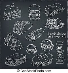 Vector Set of sandwiches. Club sandwich cheeseburger...
