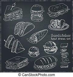 Vector Set of sandwiches. Club sandwich cheeseburger...