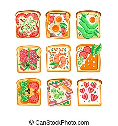 Vector set of sandwiches with different ingredients. Bread slices with tomatoes, eggs, avocado, shrimps, strawberry, bacon, salami. Fast food. Tasty snacks. Design for cafe menu