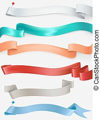 Vector set of satin ribbons in different colors