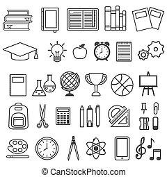 Vector set of school icons