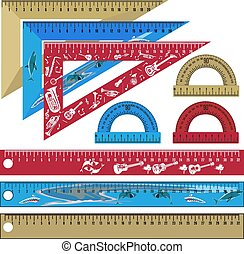Vector set of school rulers and protractors in flat style
