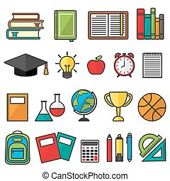 Vector set of school supplies, education symbols and stationery.