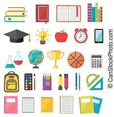Education symbols and stationery icons
